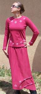 Shibori knit shirt and skirt