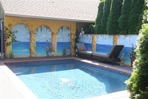 Outdoor pool mural