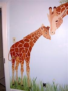 Giraffe nursery mural