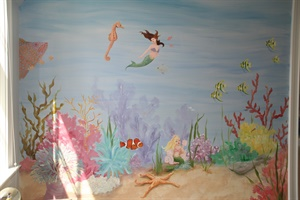 Girl's mermaid mural