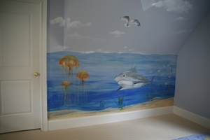Detail of boy's undersea room