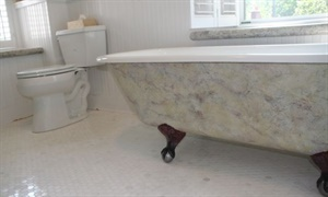 Faux granite bathtub