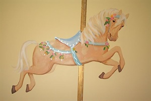 Detail of Carousel nursery mural