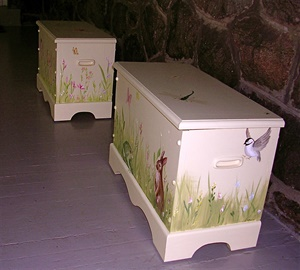 Pair of painted toy chests