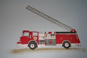 Fire  engine in little boy's room