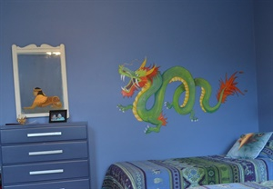 A Chinese dragon guards a  boy's room