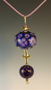 Gold and Lampwork Beads Pendant 101
