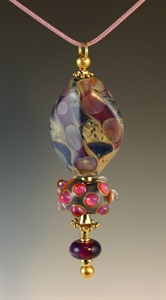 Gold and Lampwork Beads Pendant 102