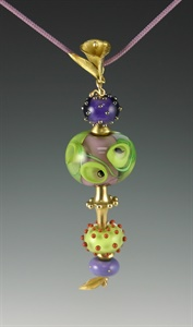 Gold and Lampwork Beads Pendant 104
