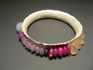 Sterling Silver Bangle with Gemstones
