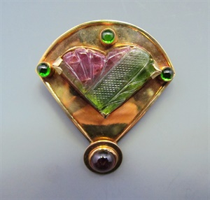 14K with Carved Watermelon and Chrome Tourmaline with Rhodolite Garnet Pin