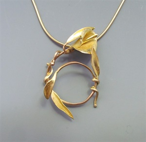 18K Calla Lily Pendant on 24k Vermeil Neckwire