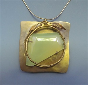 14K with Chalcedony Pendant on 24k Vermeil Neckwire