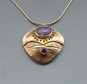 14K Opal and Ruby Pendant on 24K Vermeil Neckwire
