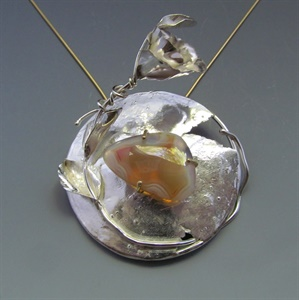 Sterling Silver with 14K Gold Pronged Agate Pendant