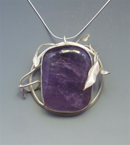Sterling Silver Floral Motif with Amethyst Pendant