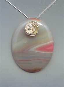 Sterling Silver Floral Motif with Agate Pendant