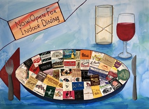New Stamp, Map, Wine Label Collage Paintings