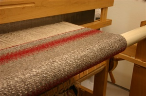 Weaving my first twill saddle blanket.