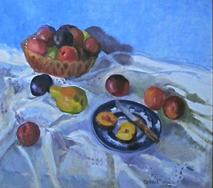 Blue Plate with Fruit