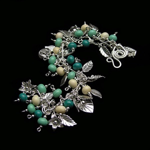 Green and Ivory Sterling Charm Bracelet