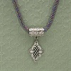 Pewter Slide on Beaded Rope Necklace