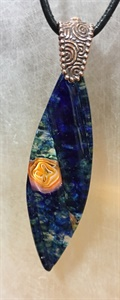 Dark Blue with Peach Colored Murrini Pendant