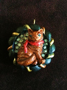 Cat in a Red Scarf Pendant