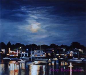 """Moon over Rockport Harbor"""