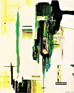 Composition with green, blue, black, white and calligraphy