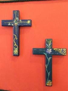 Teal Blue Crosses