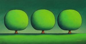 Three Happy Green Trees