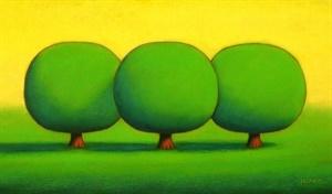 Three Cool Green Trees